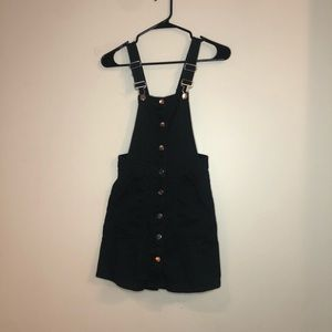 Black Button Up Denim Overall Dress